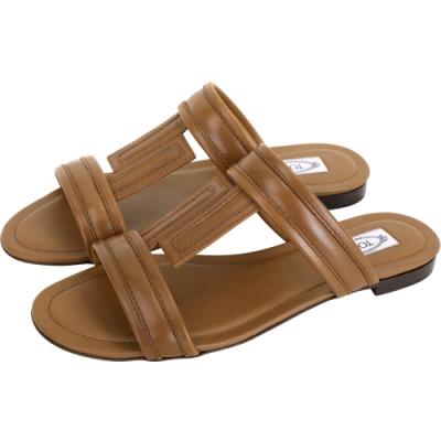 TOD'S DoubleT 牛皮涼鞋/拖鞋(棕色)
