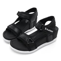 PLAYBOY 網布拼接厚底休閒涼鞋-黑-Y5288CC