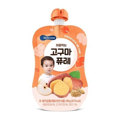 韓國【BEBECOOK】寶膳 嬰幼兒綿綿 雪梨番薯泥(80g)