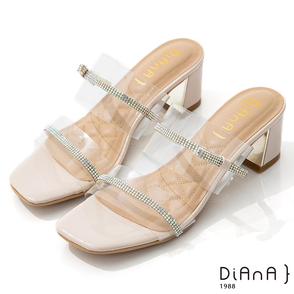 DIANA 6cm 糖果漆皮透明PVC方頭涼拖鞋-夏日風情-裸