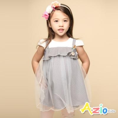 Azio Kids 女童 上衣 假兩件吊帶網紗細格長版短袖傘擺上衣(黑)