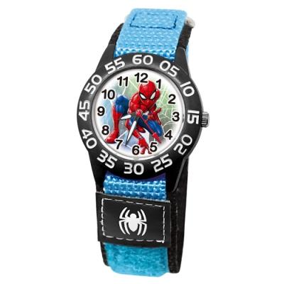 Disney迪士尼 Marvel漫威蜘蛛人自黏織帶錶33mm黑殼白字藍錶帶