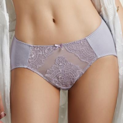 摩奇X-Good Fit M-3L 中腰三角內褲(薰衣紫)精緻蕾絲