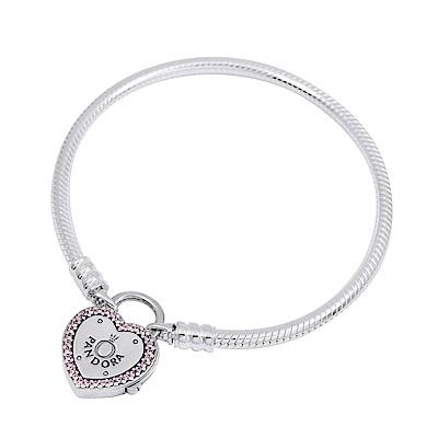 Pandora 潘朵拉 粉紫鋯石心鎖Loge造型蛇鍊 純銀手鍊手環