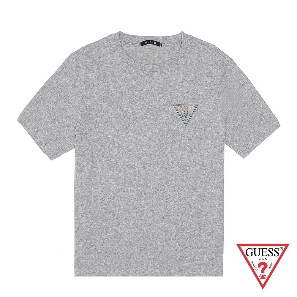 GUESS-女裝-小倒三角logo素色短T-灰