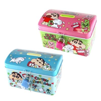 日本正版 蠟筆小新 鐵盒 存錢筒 小費盒 收納盒 附鑰匙 可上鎖 野原新之助