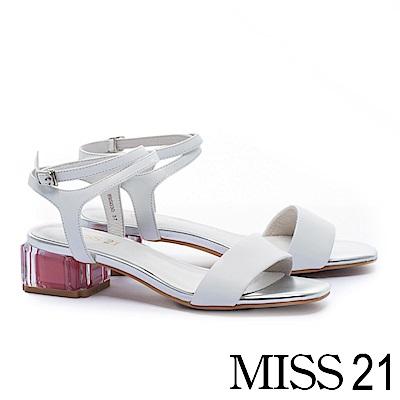 涼鞋 MISS 21 簡約質感一字帶羊皮跳色透明方高跟涼鞋-白