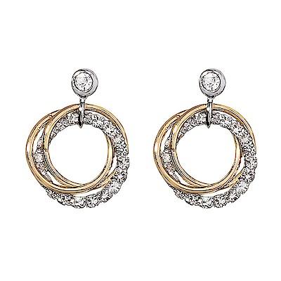 梨花HANA  韓國S925銀針鑽飾雙環金銀圈圈耳環