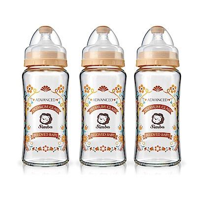 小獅王辛巴 蘿蔓晶鑽寬口葫蘆玻璃大奶瓶3支組(270ml)