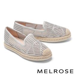 休閒鞋 MELROSE 閃耀質感時尚晶鑽草編厚底休閒鞋-灰