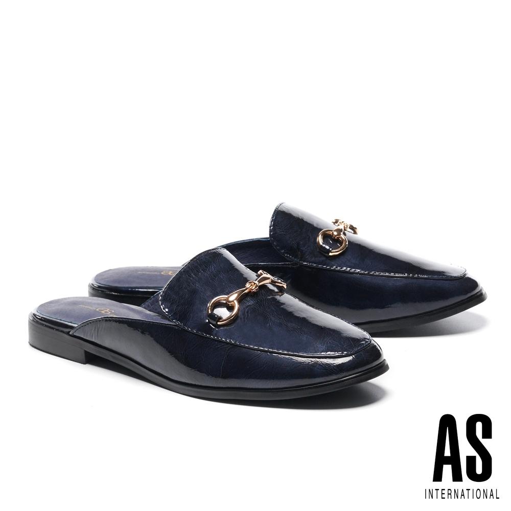 穆勒鞋 AS 復刻經典時尚馬銜釦全真皮低跟穆勒拖鞋-藍