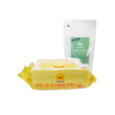黃色小鴨盒蓋嬰兒純水柔濕巾80抽/箱+台塑生醫Dr s Formula 嬰幼童奶瓶洗潔劑補充包*1