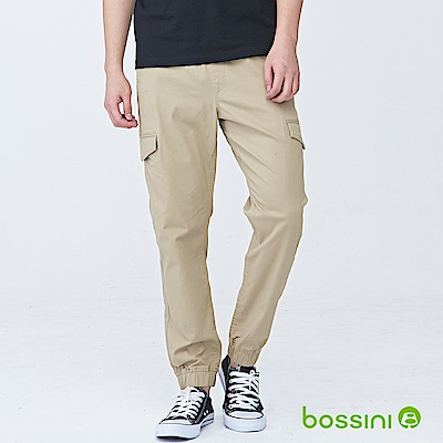 bossini男裝-輕鬆彈性束口長褲01茶色