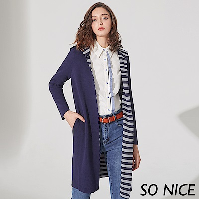SO NICE休閒條紋連帽針織外套