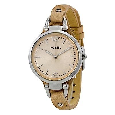 FOSSIL  纖纖小手簡約輕量皮革腕錶(ES2830)-卡其色/32mm