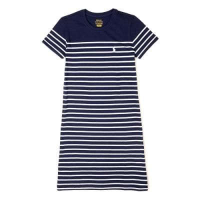 Polo Ralph Lauren 經典電繡小馬條紋長板T恤(女)-白深藍色