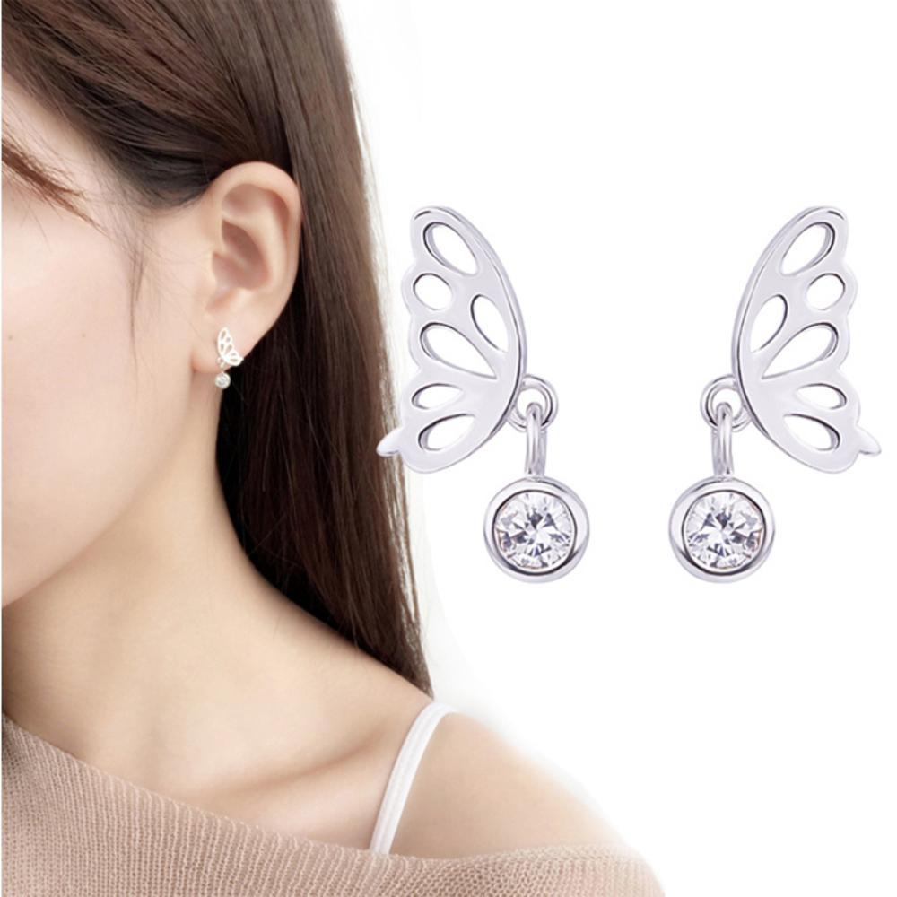 iSFairytale伊飾童話 蝴蝶展翅 亮麗白銀銅鍍30銀耳環