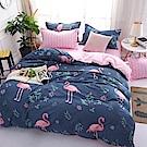 La Lune 台灣製經典超細雲絲絨雙人兩用被單人床包枕套3件組 紅鶴韓風