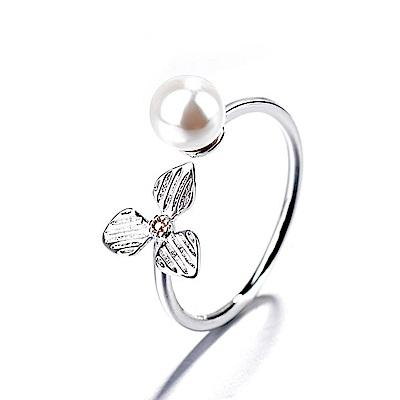 iSFairytale伊飾童話 三色堇珍珠 亮麗白銀銅電鍍開口戒指