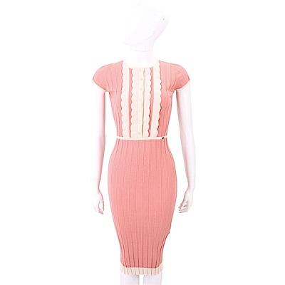 ELISABETTA FRANCHI 花瓣細節粉橘撞色羅紋針織洋裝