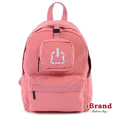 iBrand後背包 簡約素色輕旅行多功能後背包-粉色