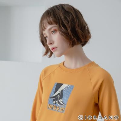 GIORDANO 女裝 Retro Wave復古大學T恤 - 21 向日葵黃