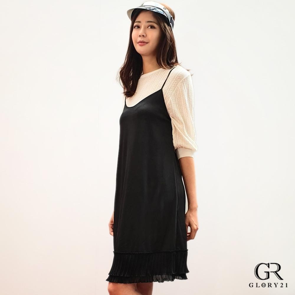 GLORY21 下襬雙層百褶洋裝_黑