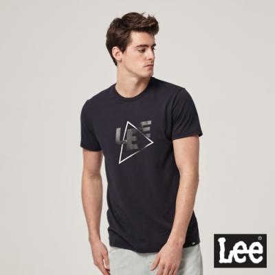Lee短袖T恤 線條拼貼logo 丈青 男款