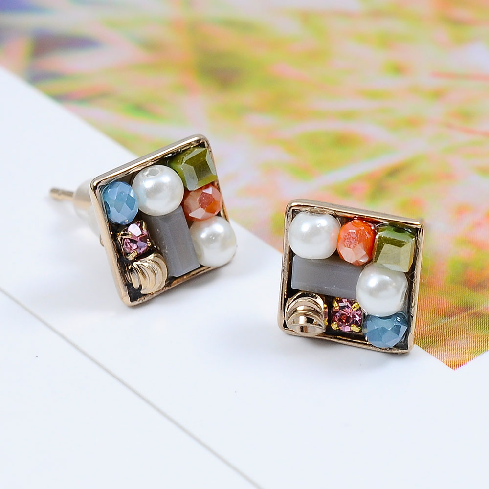 Prisme美國時尚飾品 菱型多寶石 玫瑰金耳環 耳針式