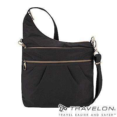 Travelon美國防盜包 都會休閒簡約包款/防割鋼網多層斜背包TL-43330黑