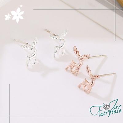 iSFairytale伊飾童話 迷你馴鹿 銅電鍍貼耳式耳環 2色可選