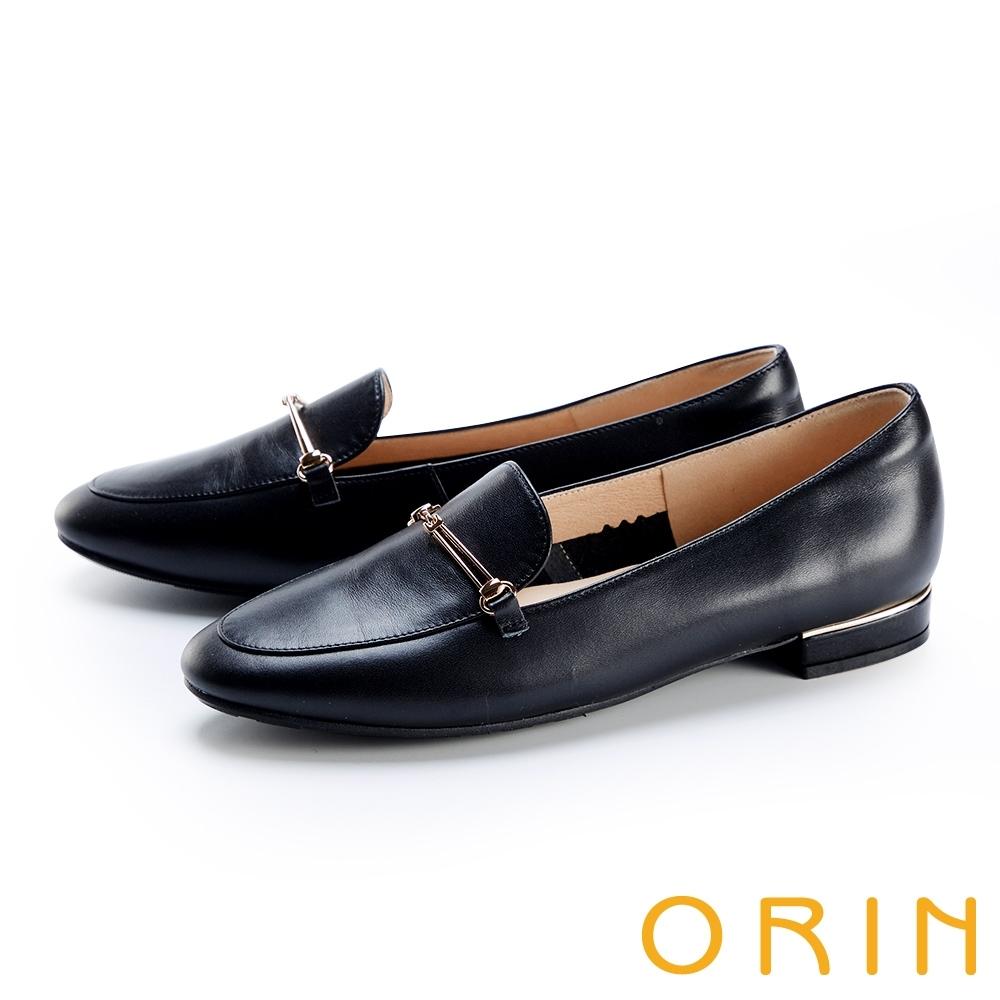 ORIN 金屬鍊條真皮平底 女 樂福鞋 黑色
