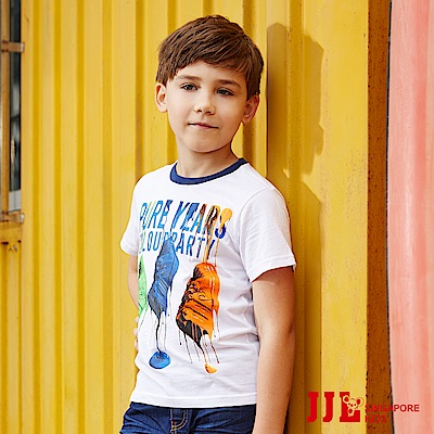 JJLKIDS 繽紛潑漆球鞋印花純棉T恤(白色)