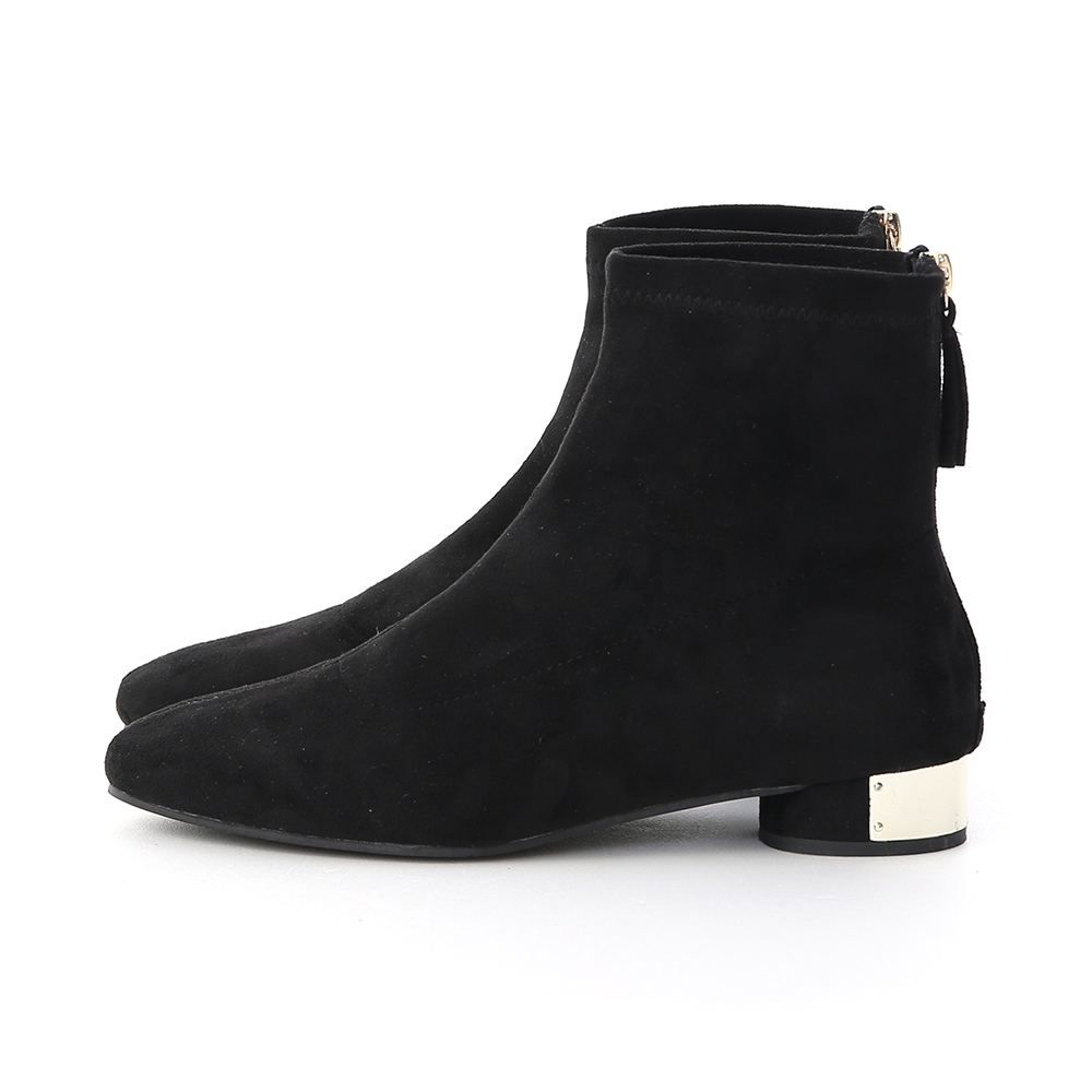 D+AF 華麗專屬.絨面金屬飾片圓跟襪靴*黑