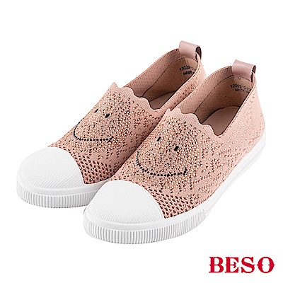 BESO fun轉笑臉 燙鑽簍空飛織休閒鞋~粉