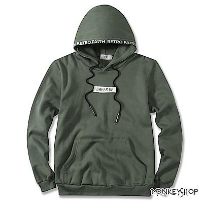Monkey Shop MIT台灣製帽緣印花連帽長袖T恤-3色
