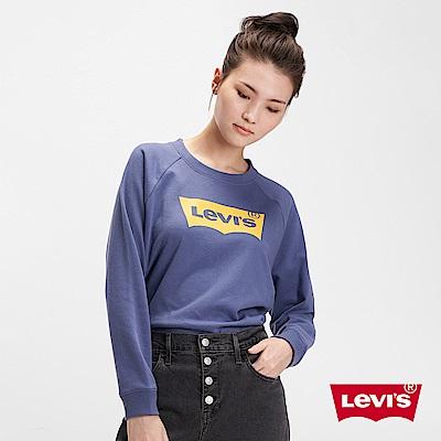 Levis 女款 大學T 寬鬆休閒版型 經典Logo 紫金曼巴 250GSM厚棉