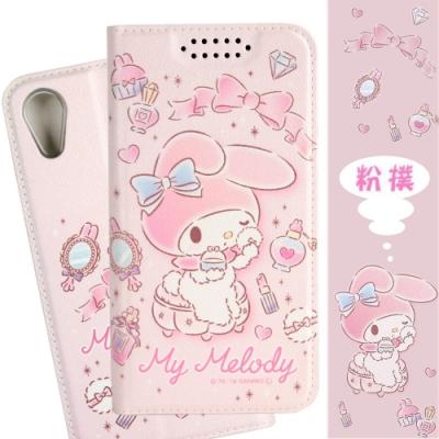 【美樂蒂】iPhone XR (6.1吋) 甜心系列彩繪可站立皮套(粉撲款)