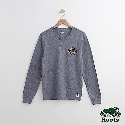 Roots 男裝-左胸格紋楓葉長袖T恤-藍色