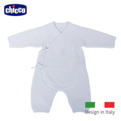 chicco- 菱點夾棉肚衣式兔裝-藍