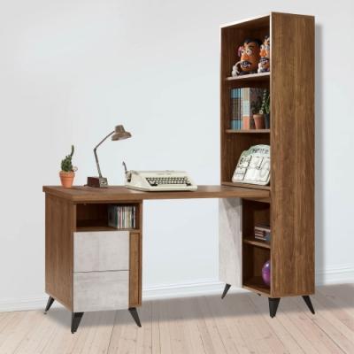 D&T 德泰傢俱 DINO清水模風格2尺書櫃加調整書桌-150x60.5x181cm