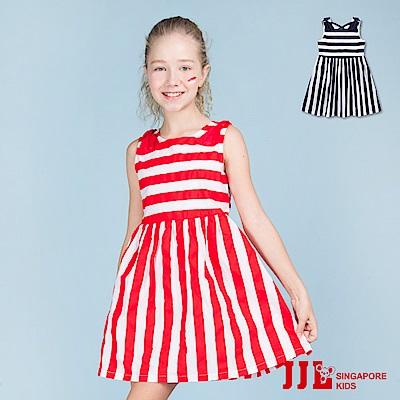 JJLKIDS 經典條紋雙肩立體蝴蝶結無袖洋裝(2色)