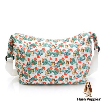 Hush Puppies 繽紛印花狗狗斜背包-白