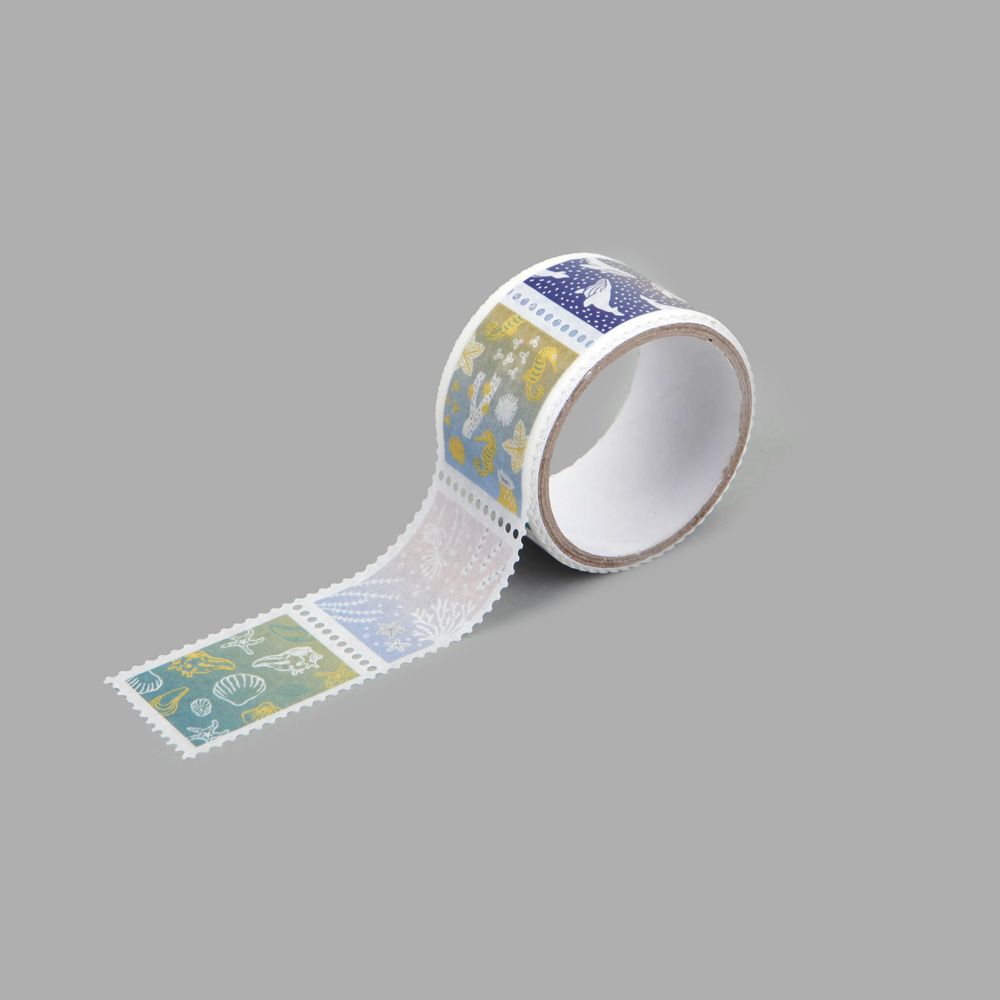 Dailylike 郵票造型紙膠帶(單捲) - 02 海洋