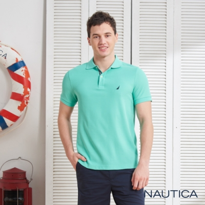 Nautica清新亮色吸濕快乾短袖POLO衫-薄荷綠