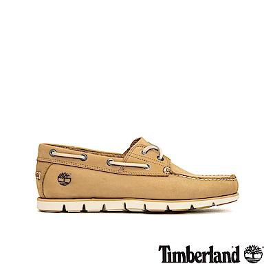 Timberland 男款米色磨砂革兩孔帆船鞋|A23ZX
