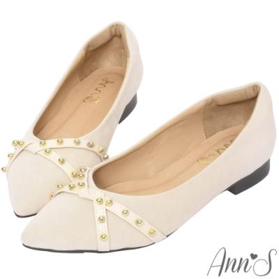 Ann'S恣意時尚-金鉚釘沙發後跟尖頭平底鞋-杏