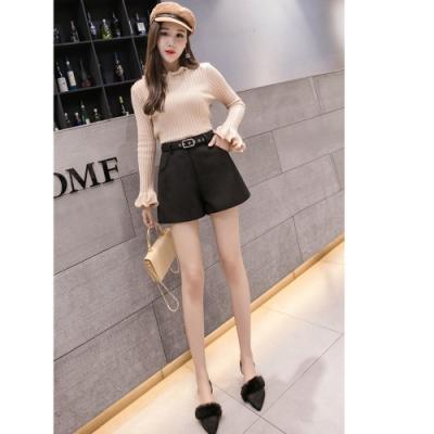 2F韓衣-韓系腰帶素面短褲-2色(S、XL)