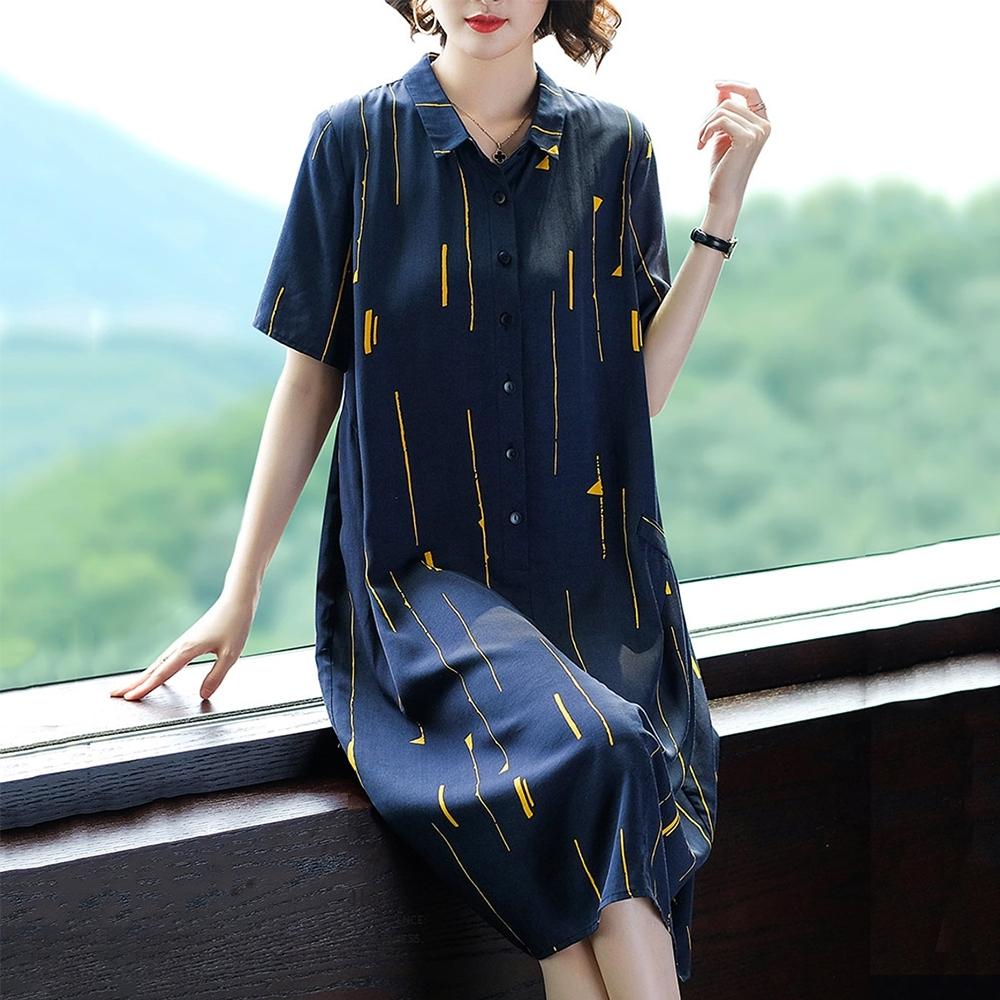 初色  氣質印花連身裙-藏青藍-(M-2XL可選)
