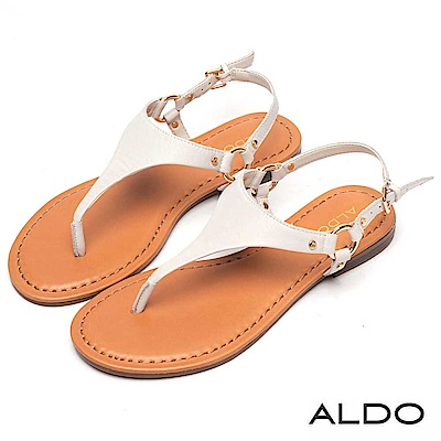 ALDO 原色牛皮T字金屬繫帶夾腳涼鞋~清新白色